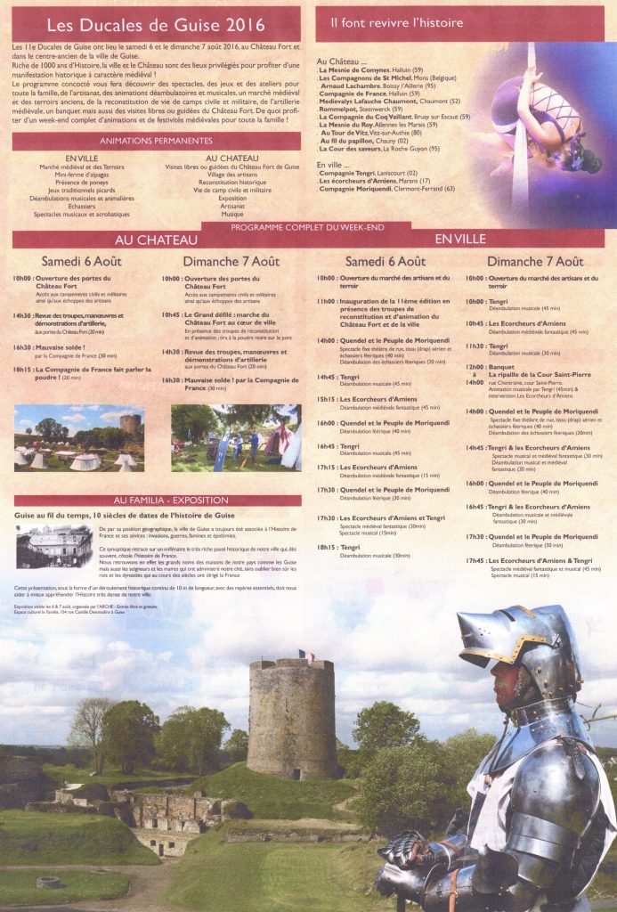 Programme Ducales de Guise 2016 verso